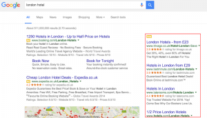 London Hotel Search - Right Hand Ads